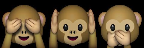 khỉ thấy nghe nói không có biểu tượng cảm xúc ác
