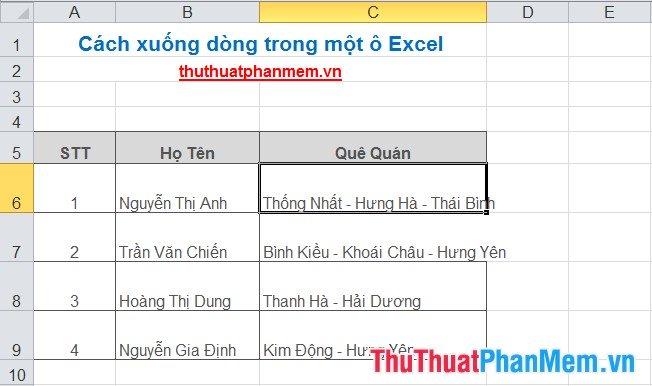Cách xuống dòng trong một ô Excel 1