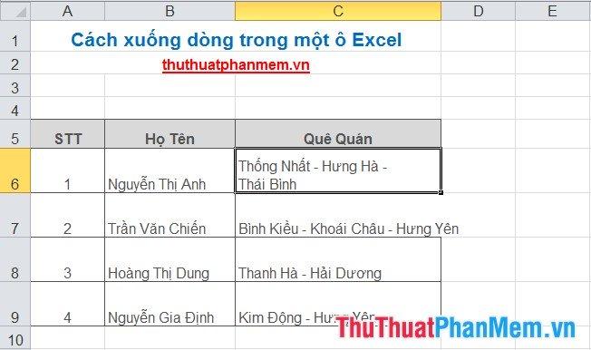 Cách xuống dòng trong một ô Excel 5
