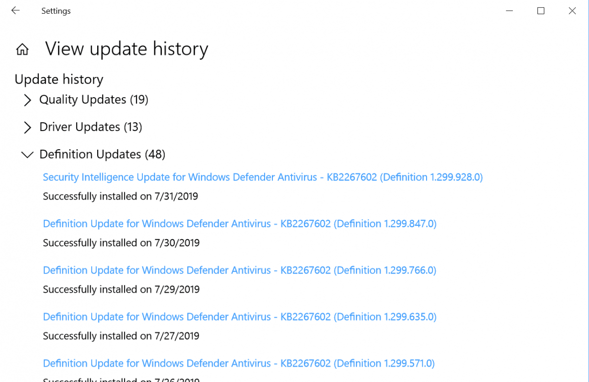 security intelligence update for windows defender antivirus