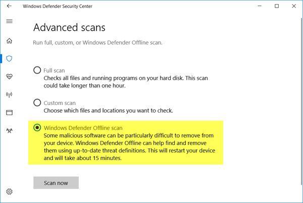 windows defender offline scan 1