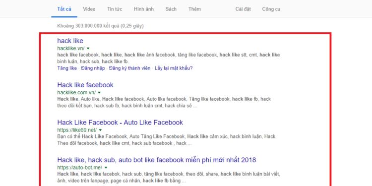 Các web hack like sẽ lấy token fb để seeding tăng like lẫn nhau