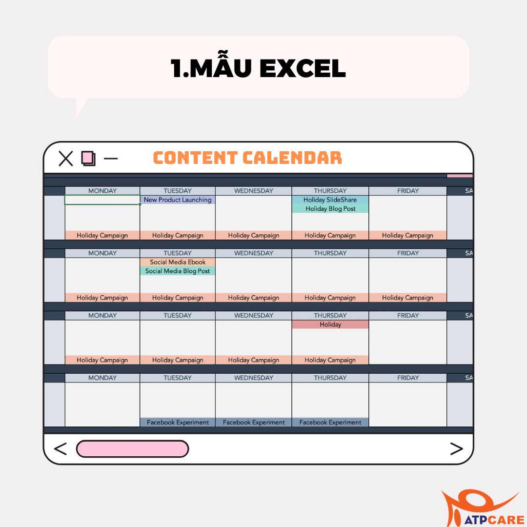 Mau Excel Content Calendar